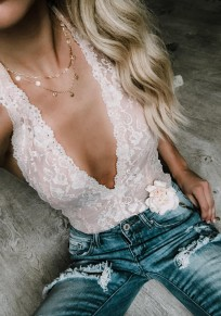 White Floral Lace Backless Sweet Short Jumpsuit