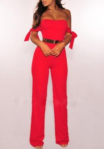 Red Golden Belt Bandeau Off Shoulder High Waisted Wide Leg Elegant Workwear Long Jumpsuit