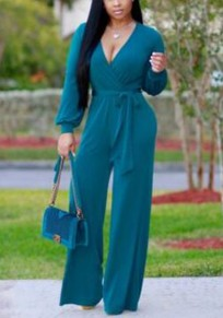Jasper Sashes High Waisted Wide Leg Deep V-neck Long Sleeve Casual Long Jumpsuit