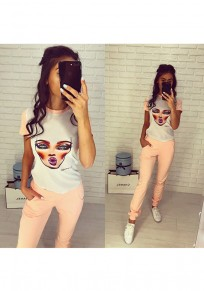 Light Pink Figure Print 2-in-1 Pockets Casual Long Jumpsuit