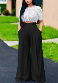 Black Floral Lace Crop Pockets Two Piece High Waisted Wide Leg Long Jumpsuit