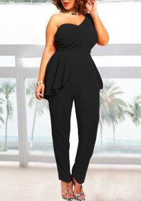 Black Irregular Ruffle Asymmetric Shoulder Peplum Backless Plus Size Cocktail Party Long Jumpsuit