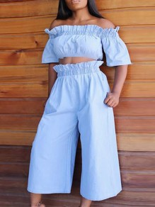Blue Ruffle Pockets Off Shoulder Two Piece High Waisted Elegant Party Nine's Jumpsuit