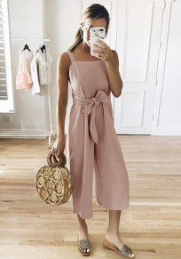 Pink Shoulder-Strap Sashes Bow Lace-up Sweet Nine's Jumpsuit