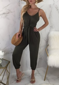 Green Sashes Spaghetti Strap V-neck Fashion Long Jumpsuit