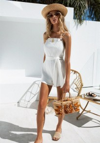 White Striped Sashes One Piece High Waisted Sweet Short Jumpsuit
