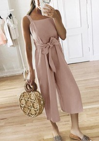 Pink Bow Sashes High Waisted Fashion Nine's Jumpsuit