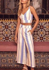 White Striped Sashes Bow Cut Out Shoulder-Strap Two Piece Casual Wide Leg Long Jumpsuit