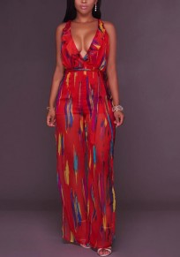 Red Striped Print Sashes Ruffle Backless Slit High Waisted Sheer Deep V-neck Bohemian Long Jumpsuit