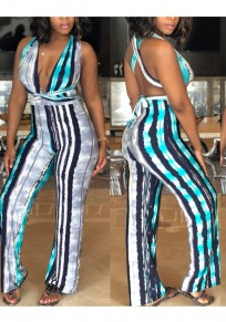Blue Rainbow Striped Belt V-neck Backless Party Multifunctional High Waisted Wide Leg Long Jumpsuit