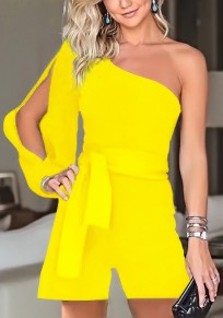 Yellow Asymmetric Shoulder Drawstring Casual Short Jumpsuit