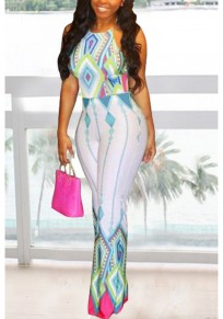 White Geometric Print Halter Neck High Waisted Vintage Wide Leg Long Jumpsuit