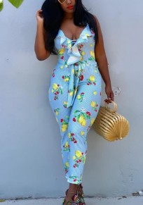 Light Blue Lemon Print Sashes Ruffle Spaghetti Strap Cross Back High Waisted Sweet Long Jumpsuit
