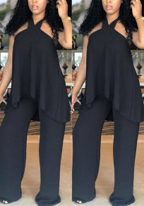 Black Ruffle Backless Halter Neck High Waisted High-Low Elegant Party Long Jumpsuit