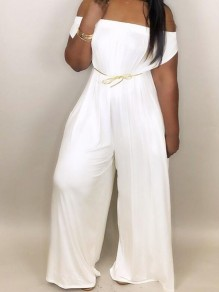 White Draped Pockets Off Shoulder Oversized Casual Wide Leg Long Jumpsuit