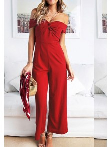 Wine Red Backless Collarless Boat Neck Long Jumpsuit