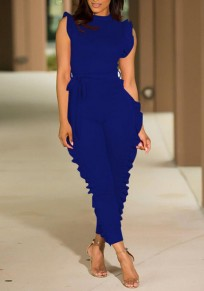 Royal Blue Cascading Ruffle Sashes High Waisted Multi Way Deep V-neck Casual Long Jumpsuit