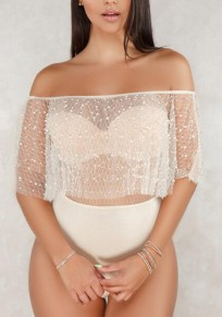 Apricot Patchwork Grenadine Pearl Ruffle Off Shoulder Backless Leotard Clubwear Short Jumpsuit