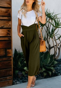 Army Green Pockets Spaghetti Strap High Waisted Nine's Jumpsuit