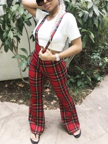 Red Vintage Plaid Zipper Shoulder-Strap High Waisted Party Flare Bell Bottomed Overall Pants