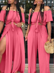 Pink Knot Off Shoulder Two Piece Backless High Waisted Side Slits Party Wide Leg Jumpsuit Pant