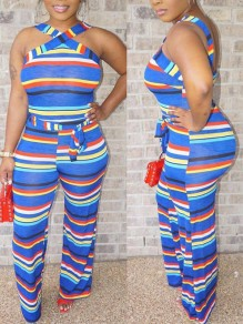 Blue Striped Print Halter Neck Backless Belt Party High Waisted Wide Leg Palazzo Jumpsuit