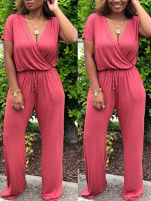 Red Drawstring Pockets Cut Out One Piece High Waisted V-neck Going out Long Jumpsuit