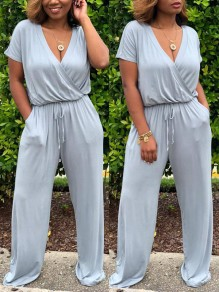 Grey Drawstring Pockets Cut Out One Piece High Waisted V-neck Going out Long Jumpsuit
