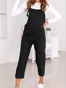 Black Buttons Spaghetti Strap Casual Nine's Jumpsuit