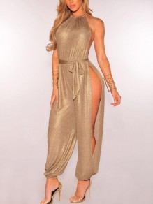 Golden Sashes Side Slit Halter Neck Tie Back High Waisted Casual Long Jumpsuit