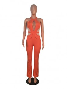 Nacarat Cut Out Halter Neck Backless Elegant Party High Waisted Wide Leg Palazzo Jumpsuit