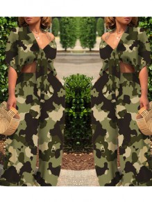 Army Green Camouflage Print Sashes High Waisted Two Piece Deep V-neck Casual Long Jumpsuit