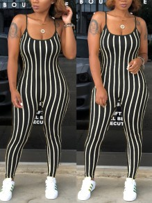 Black White Striped Print Spaghetti Strap Backless Bodycon High Waisted Casual Jumpsuit