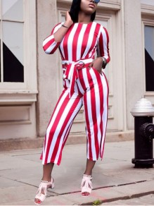 White-Red Striped Sashes Bowknot High Waisted Wide Leg Elegant Casual Seven's Jumpsuit