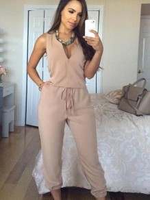 Apricot Drawstring High Waisted Casual Going out Outdoors Long Jumpsuit