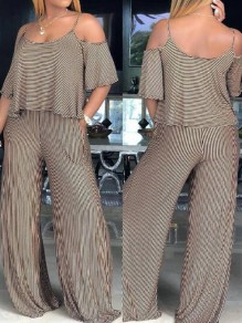 Coffee-White Striped Cut Out Pockets Spaghetti Strap Casual Wide Leg Long Jumpsuit