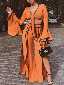 Orange Knot Two Piece Side Slits Bell Sleeve V-neck Casual High Waisted Wide Leg Palazzo Jumpsuit