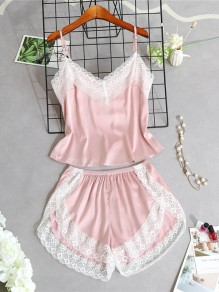Pink Patchwork Lace Two Piece Spaghetti Strap V-neck Sweet Short Jumpsuit