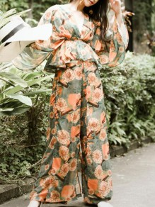Orange Floral Print Sashes Two Piece Peplum High Waisted Wide Leg Deep V-neck Long Jumpsuit