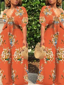 Orange Floral Print Sashes Two Piece High Waisted Deep V-neck Bohemian Long Jumpsuit