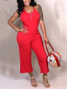 Red Halter Neck Buttons Backless Casual High Waisted Wide Leg Palazzo Jumpsuit