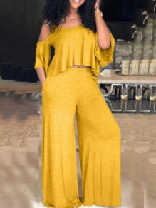 Yellow Ruffle Cut Out Spaghetti Strap High Waisted Two Piece Casual Long Jumpsuit