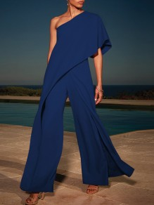 Sapphire Blue Asymmetric Shoulder Ruffle One Shoulder High Waisted Wide Elegant Long Jumpsuit