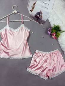 Pink Patchwork Lace Bow 2-in-1 Elastic Waist Fashion Short Jumpsuit