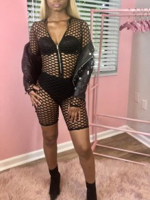 Black Cut Out Zipper Fishnet Long Sleeve Clubwear Short Jumpsuit