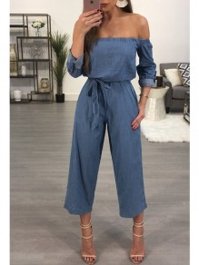 Dark Blue Belt Pockets Boat Neck Long Sleeve Casual Jeans Long Jumpsuit Pant