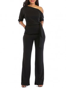 Black Belt Pockets One Shoulder Elbow Sleeve Loose Long Jumpsuit Pant