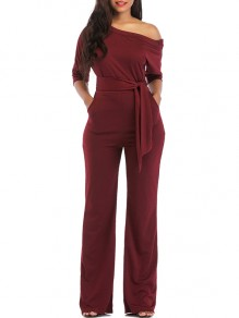 Claret Belt Pockets One Shoulder Elbow Sleeve Loose Long Jumpsuit Pant