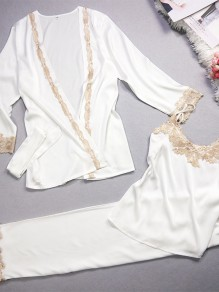 White Patchwork Lace Belt High Waisted Sweet Long Jumpsuit