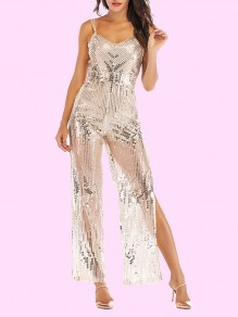 Silver Spaghetti Strap Sequin Glitter Slit High Waisted Wide Leg Elegant Long Jumpsuit